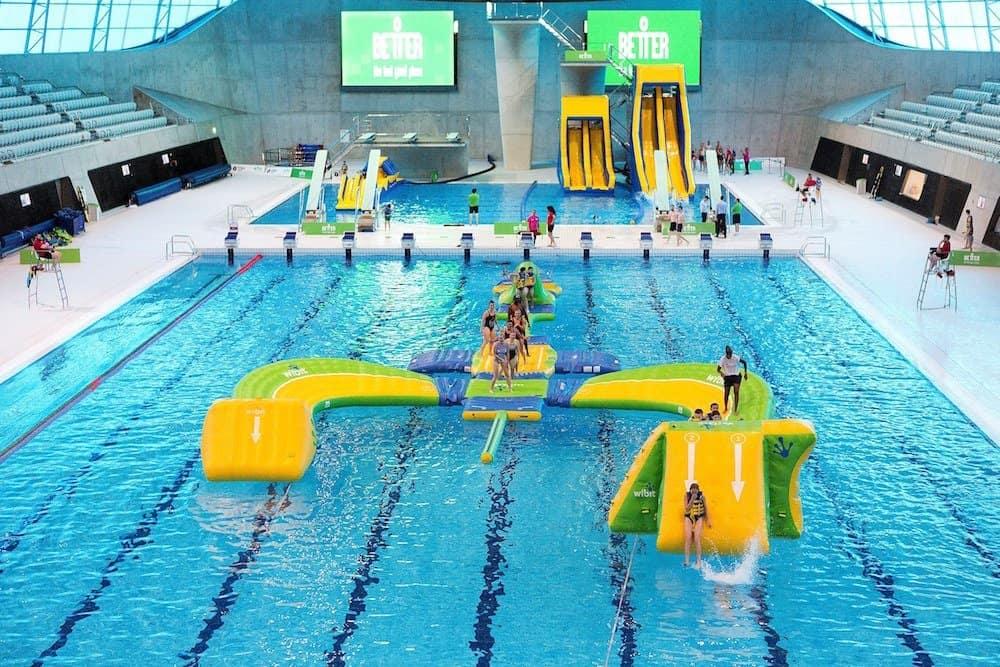 Pool inflatables at London Aquatic Centre