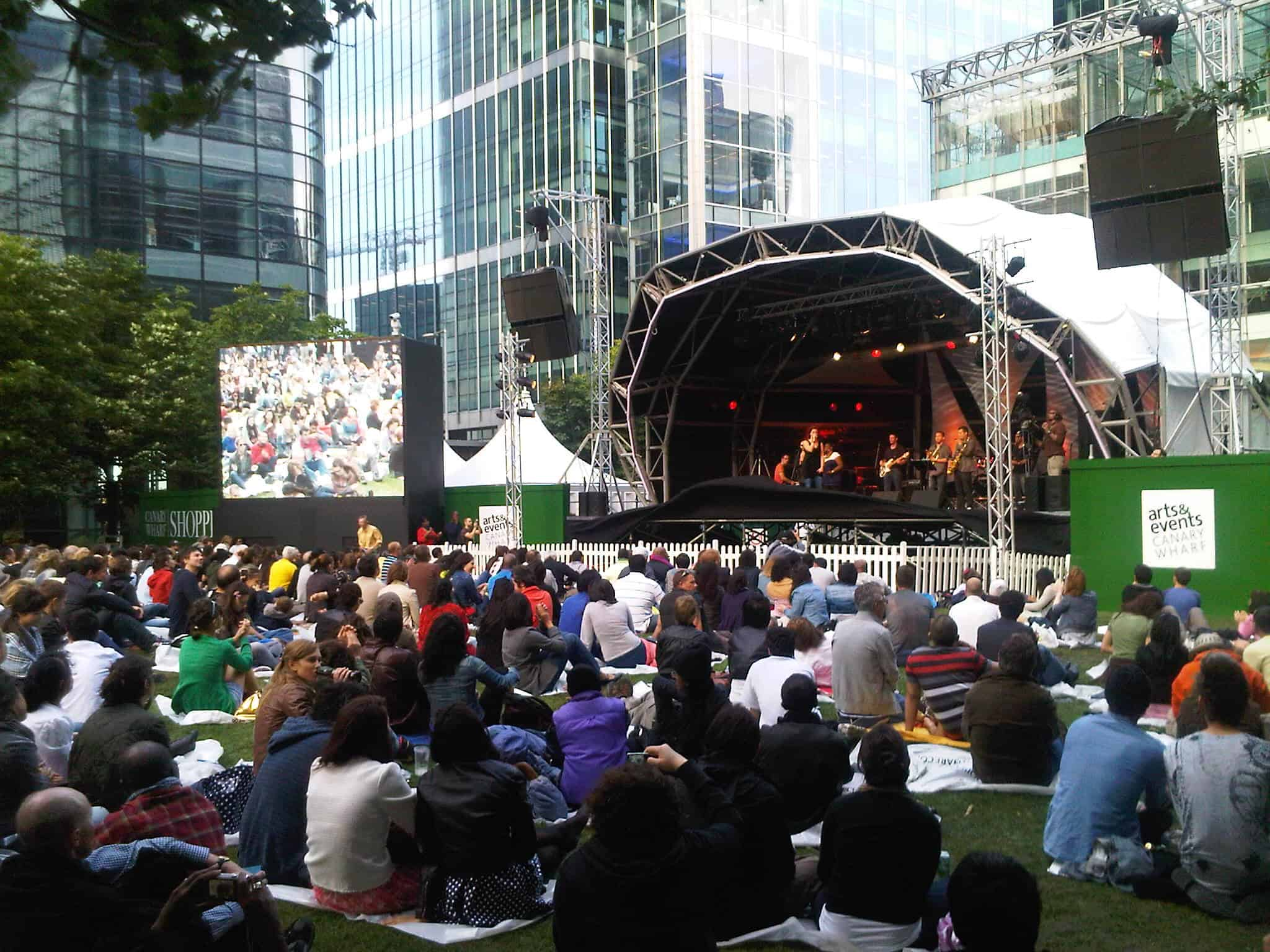 Open air concerts at Canary Wharf
