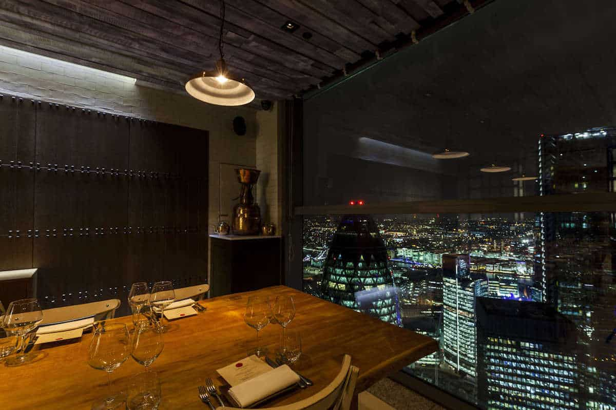The view at Duck at Waffle in London